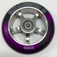 GRIT 100mm Alloy Core Scooter Wheel w Bearings - Titanium / Black Purple PAIR
